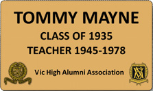 Seat plaque for Tommy Mayne